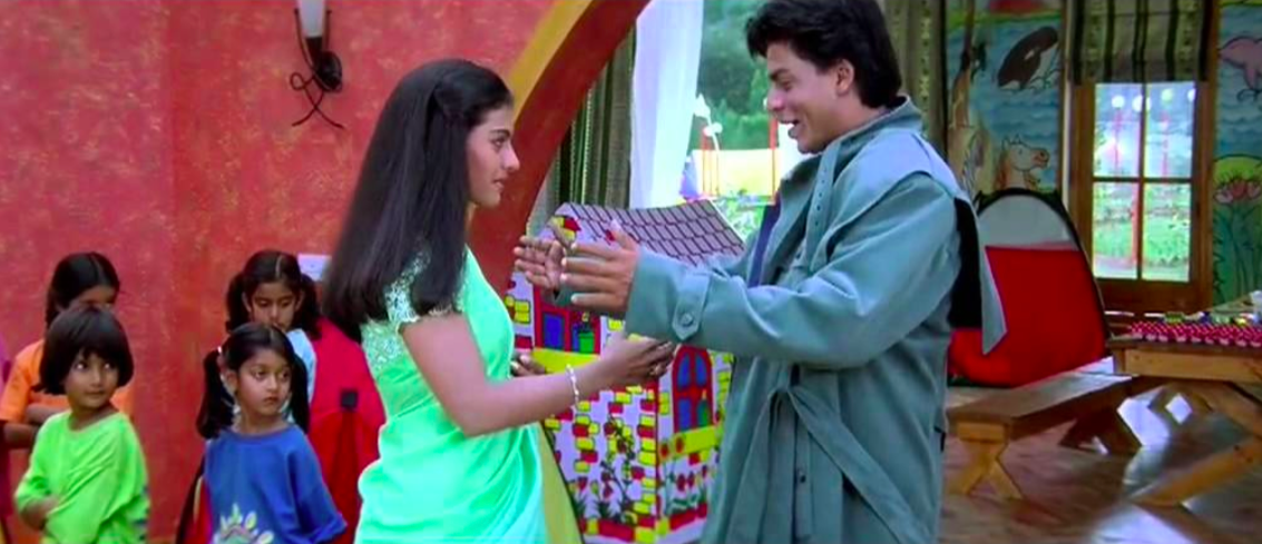 Shah Rukh Khan falls in love with Kajol after her physical transformation. (Kuch Kuch Hota Hai)