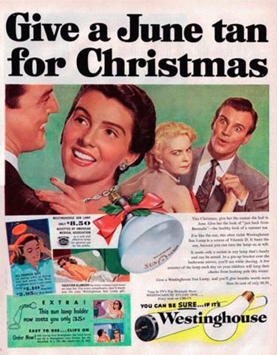 """Give a June tan for Christmas"" (1952 Westinghouse Sun Lamp ad)"