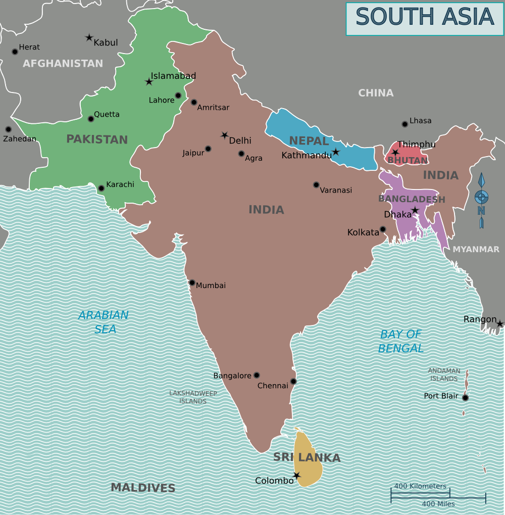 Contemporary political map of South Asia (Cacahuate via Wikivoyage)