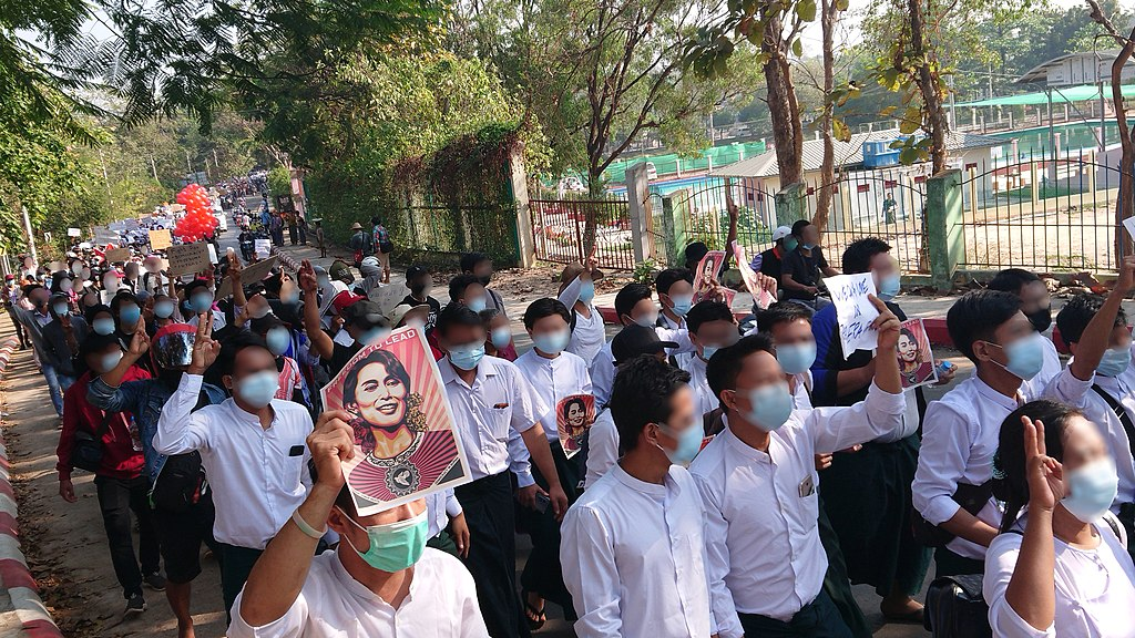 Protest against military coup, February 9 2021 (Hpa-An, Kayin State, Myanmar)