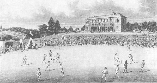 A sketch of the first official international cricket game played between the U.S. and Canada in New York in September 1844. Canada won by 23 runs. (USA Cricket)
