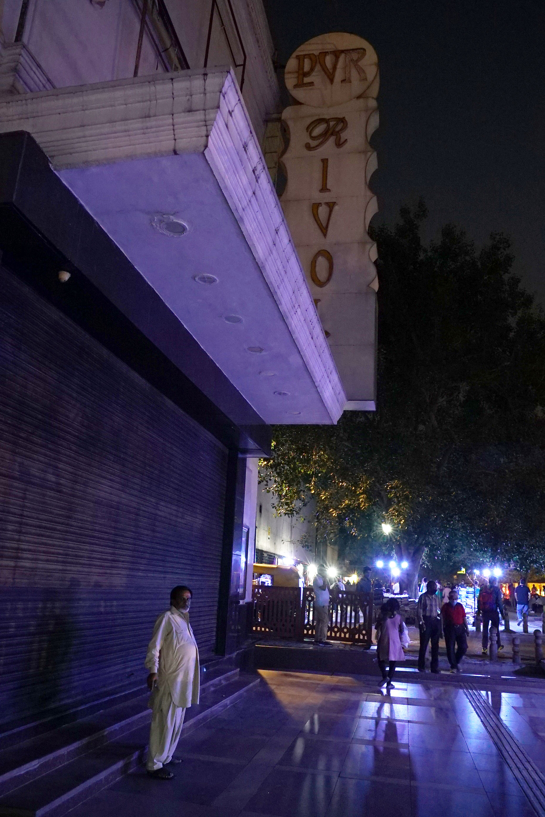 Saturday night outside a shuttered PVR Rivoli in Connaught Place, Delhi. (Veda Shastri)