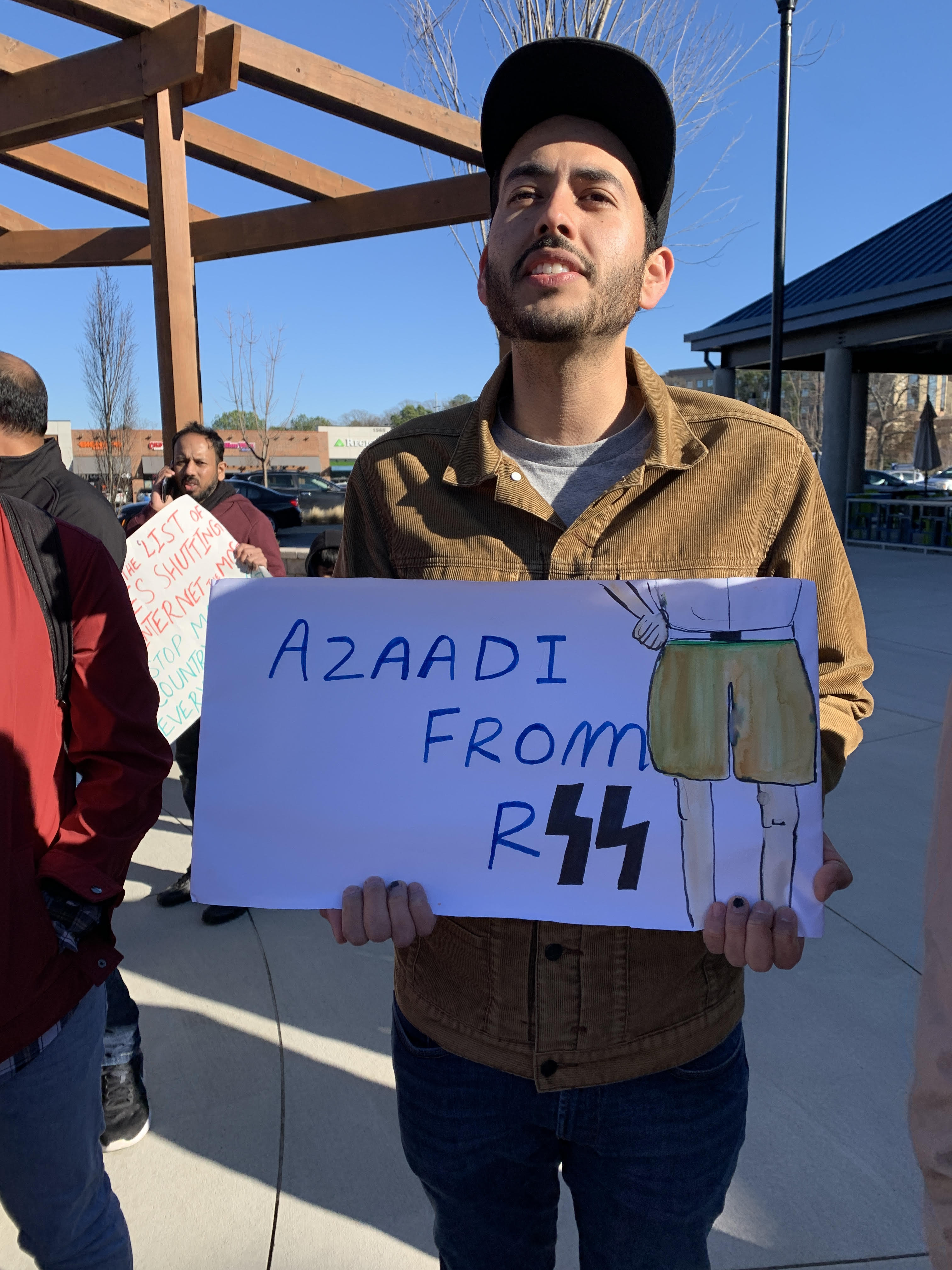 """Azaadi from RSS"" from protests in Atlanta (Shelly Anand)"