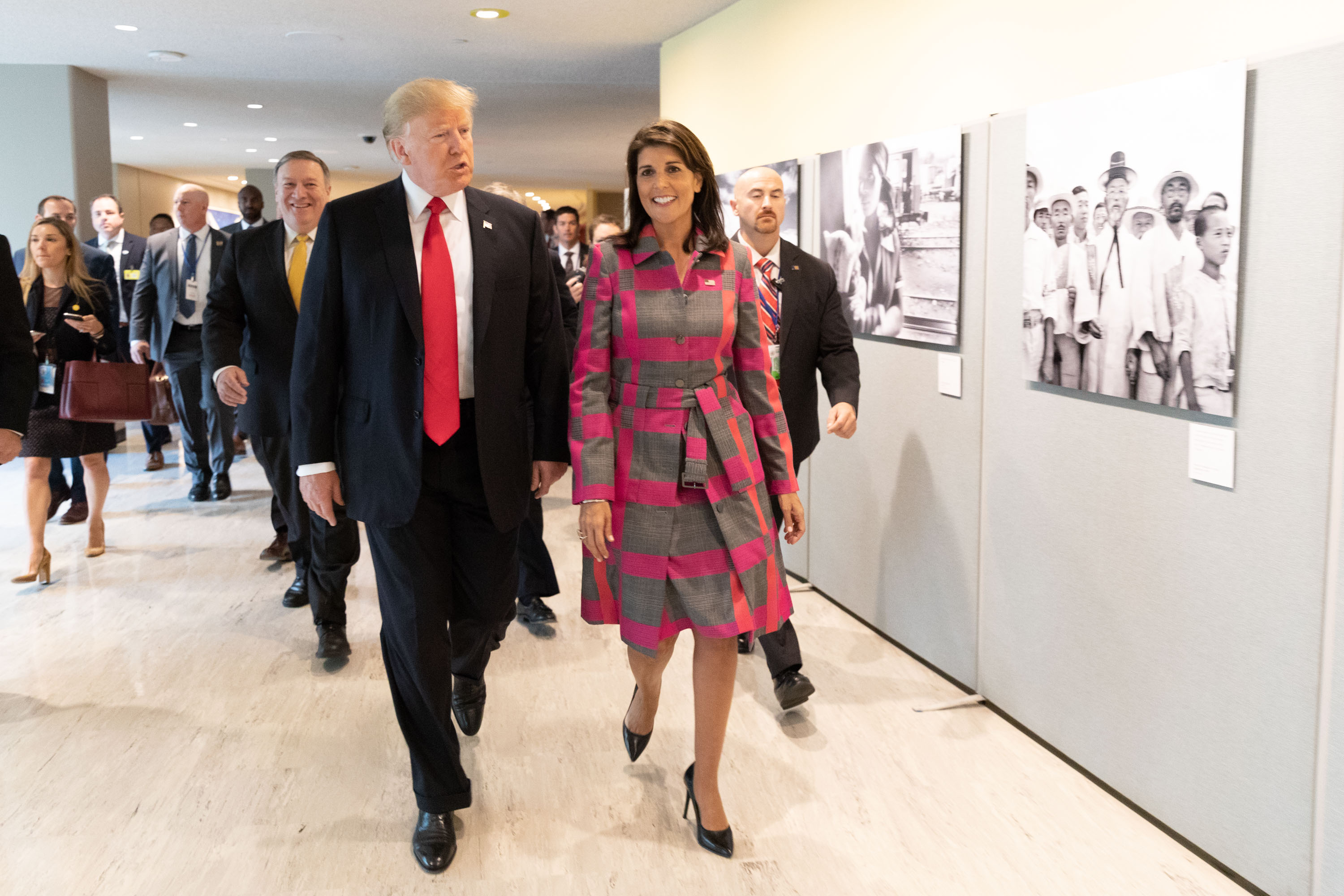 President Donald J. Trump and UN Ambassador Nikki Haley arrive Monday, Sept. 24, 2018, to the UN Headquarters in New York City, where they participated in the Global Call to Action on the World Drug Problem. (Official White House Photo by Shealah Craighead)