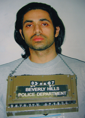 Anand Jon's 2007 mugshot at the Beverly Hills Police Department. (Anand Jon)