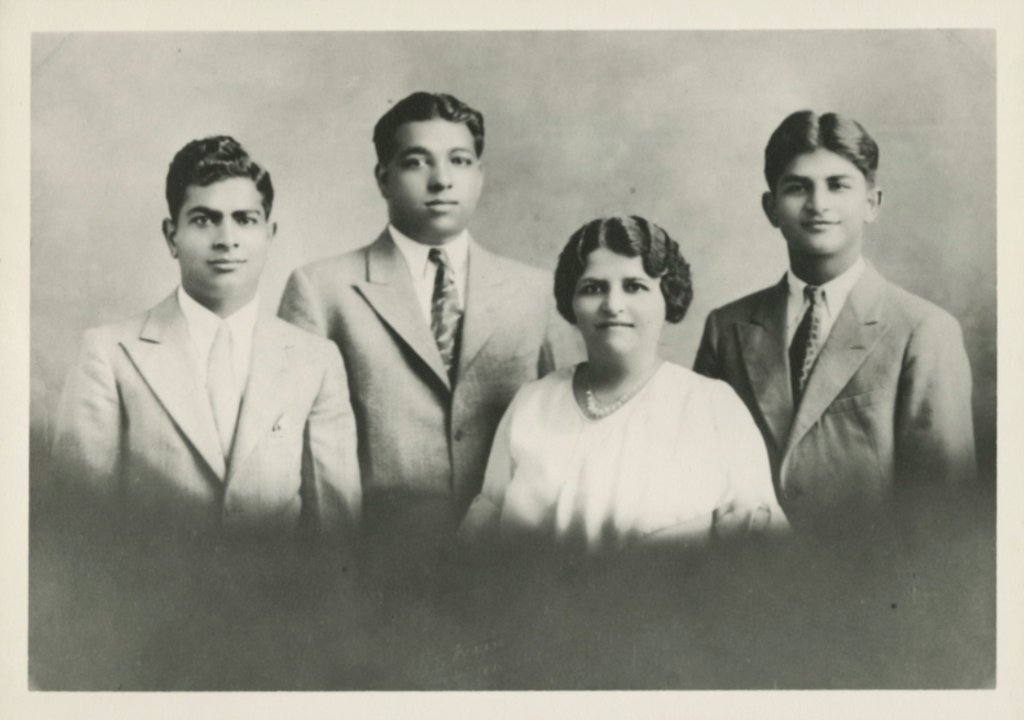 Photograph of Kala Bagai Chandra, and her three sons Madan, Brij, and Ram Bagai (left to right), taken in Chicago in 1933.