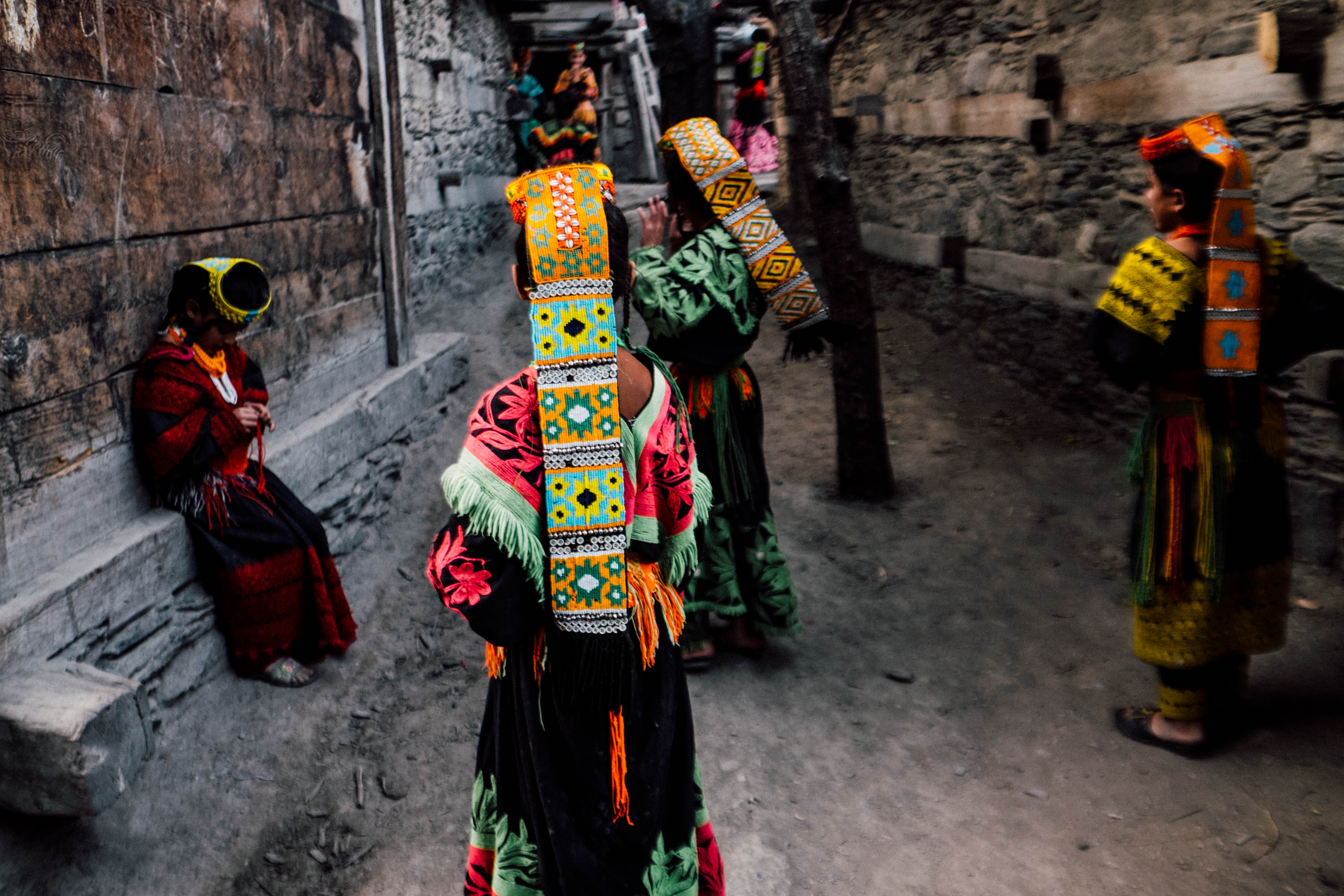 A group of Kalash girls play in the streets of their village (Usman Ahmad)