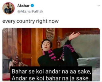 "A meme referring to ""Hum Tum Ek Kamre Mein Band Ho"" from the Bollywood movie Bobby (Akshar Pathak)"