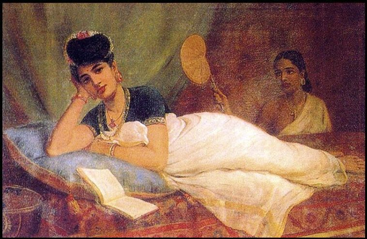 A reclining Nayar lady on a velvet couch with a book open in front of her (Raja Ravi Varma)