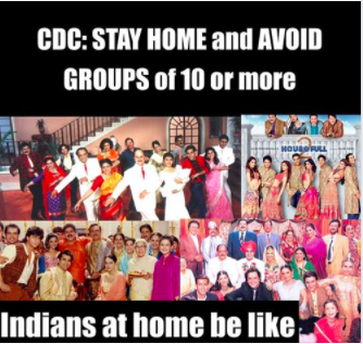 Meme about social distancing in Indian families (Subtle Curry Traits)