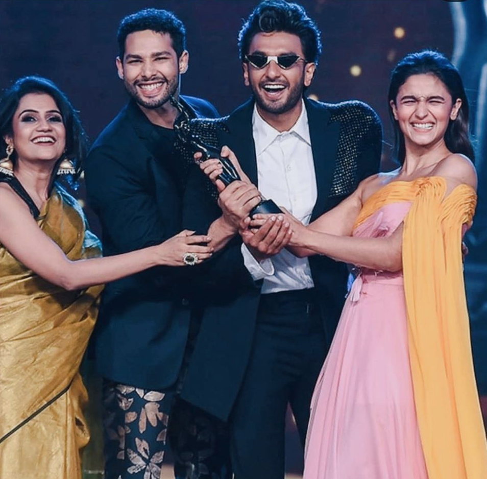 The Gully Boy team (from left to right: director Zoya Akhtar and actors Siddhant Chaturvedi, Ranveer Singh, Alia Bhatt) won the most awards