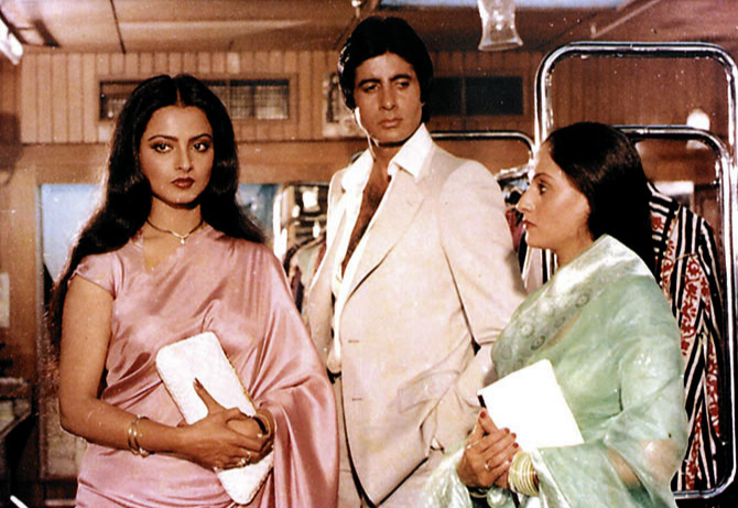 Rekha, Amitabh Bachchan, and Jaya Bachchan in 'Silsila', a 1981 film by Yash Chopra