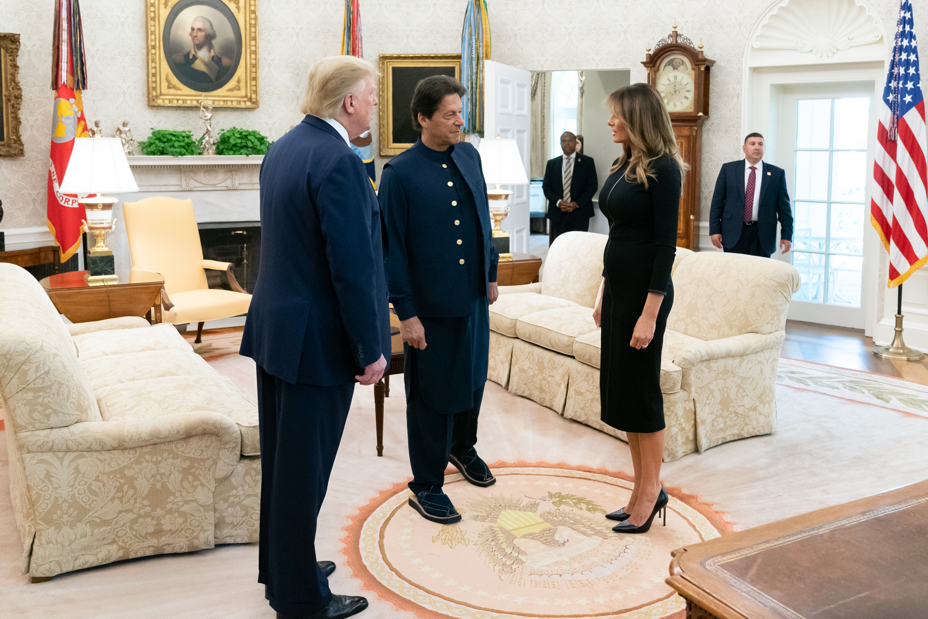 Donald J. Trump and Melania Trump greet the Prime Minister of the Islamic Republic of Pakistan Imran Khan Monday, July 22, 2019, in the Oval Office of the White House. (Official White House Photo by Andrea Hanks, via Wikimedia Commons)