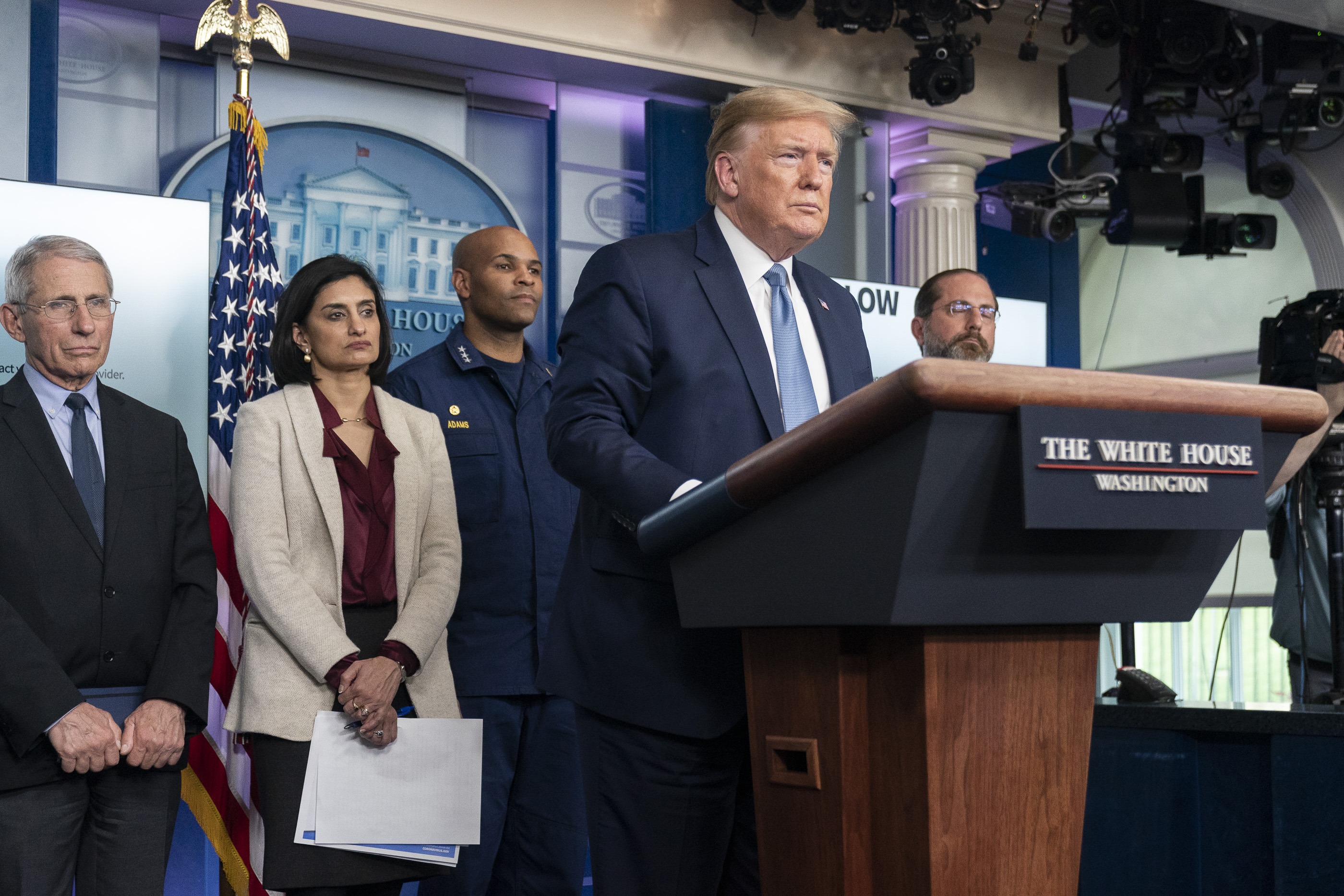 President Donald Trump joined members of the White House Coronavirus Task Force during a coronavirus update briefing Monday, March 16, 2020 in the James S. Brady Press Briefing Room of the White House (Official White House Photo by Shealah Craighead)