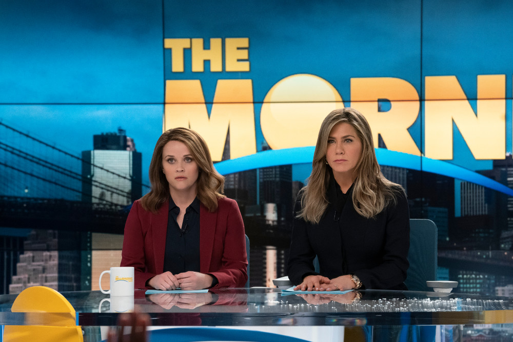 "Reese Witherspoon and Jennifer Aniston in Apple TV+'s ""The Morning Show"" (Apple)"