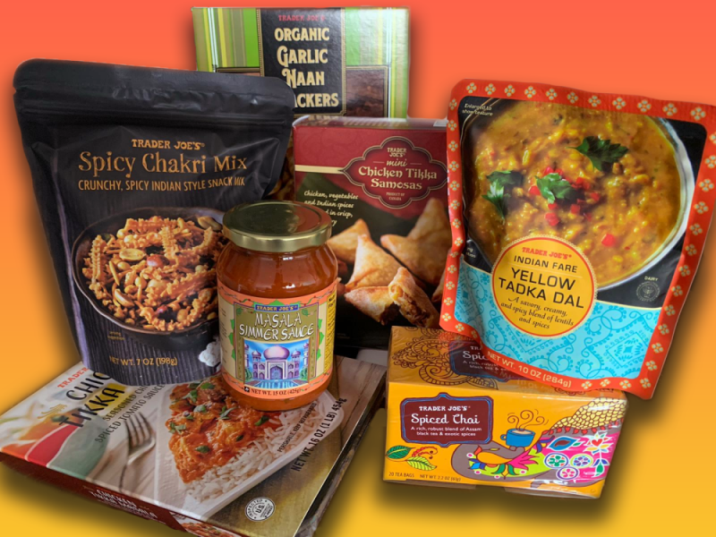 Some Indian products from Trader Joe's private label: organic garlic naan crackers, yellow tadka dal, spiced chai, masala simmer sauce, chicken tikka samosas, and spicy chakri mix.