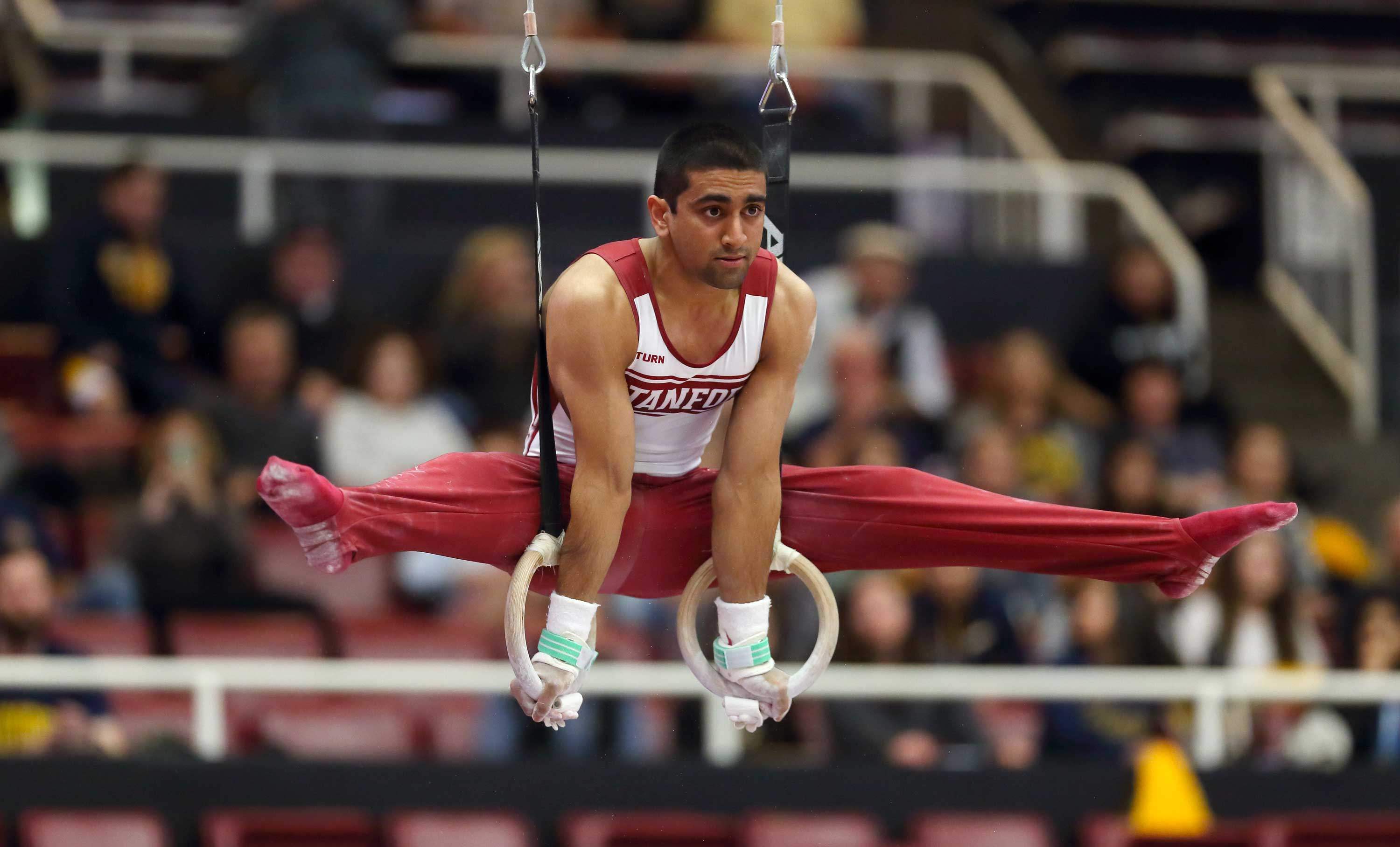 Stanford Men's gymnast Akash Modi competing in March 2014. (Hector Garcia-Molina/ISIPhotos)
