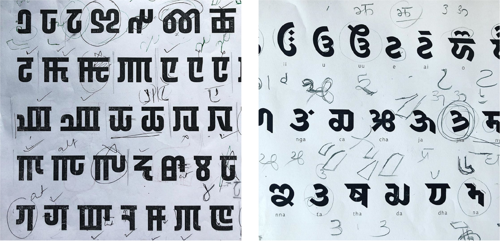 Work in progress from Indian Type Foundry's upcoming Meitei (L) and Takri (R) script fonts, used in Manipur and Northwest India respectively. (Indian Type Foundry)