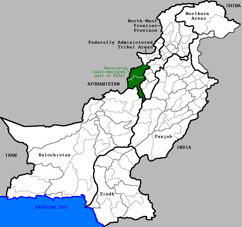 Map of Pakistan, with Waziristan highlighted