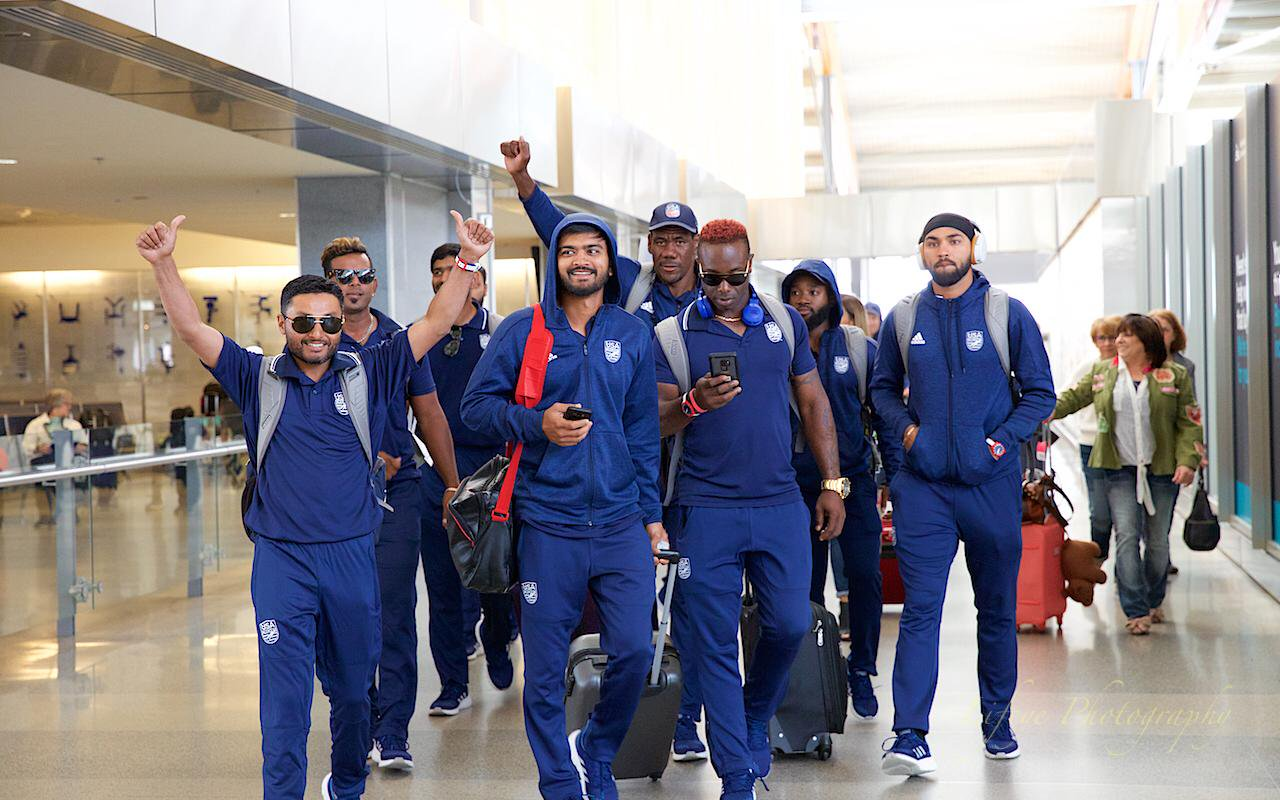 Members of the U.S. men's cricket team at a Raleigh, North Carolina airport after gaining ODI status in April 2019. (USA Cricket)