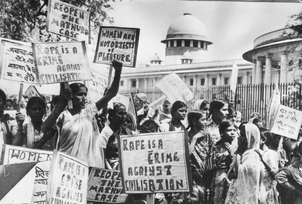March 25, 1980: Members of the National Federation of Indian Women demonstrating outside the Supreme Court, New Delhi as they demand the re-opening of the 'Mathura rape case'. (Photo by Keystone / Getty Images)
