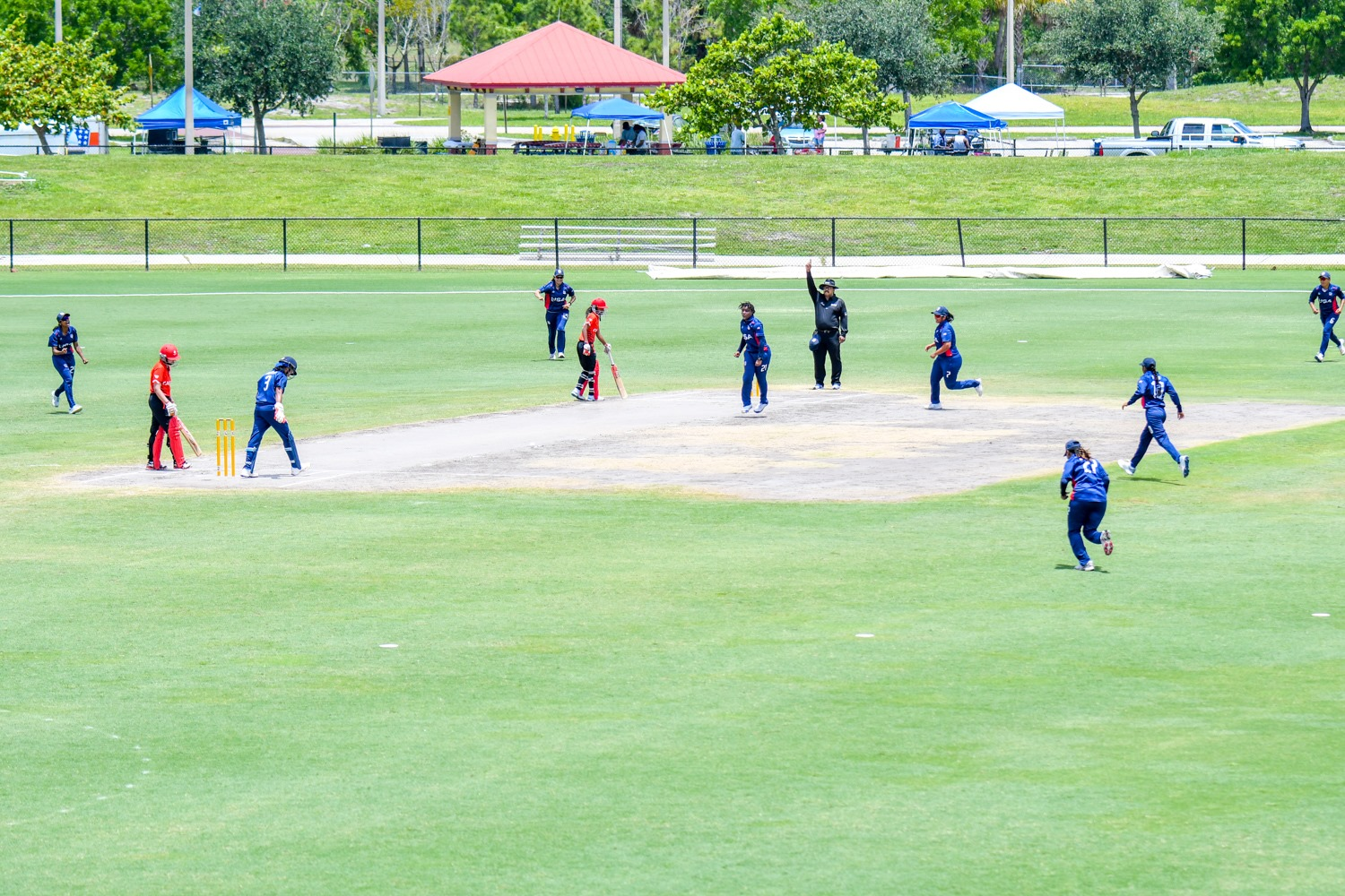 Action during a T20 game between the U.S. and Canada in May at the Central Broward Regional Park, Lauderhill, Florida. (USA Cricket)