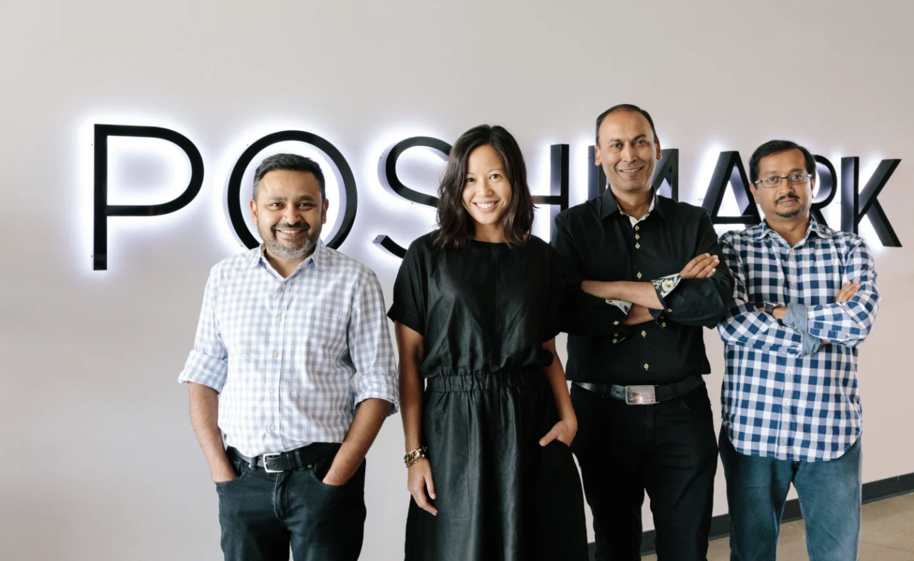 Poshmark leadership team, from left to right: Chetan Pungaliya (Co-Founder, SVP of Engineering), Tracy Sun (Co-Founder, SVP of New Markets), Manish Chandra (Founder and CEO), Gautam Golwala (Co-Founder, CTO) (Image courtesy of Poshmark / Jen Kay)