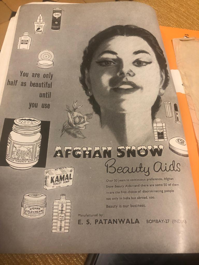 Ad for Afghan Snow. (Petals)