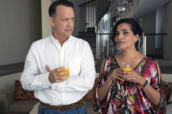 "Tom Hanks and Sarita Choudhury in ""A Hologram for the King"" (Lionsgate)."