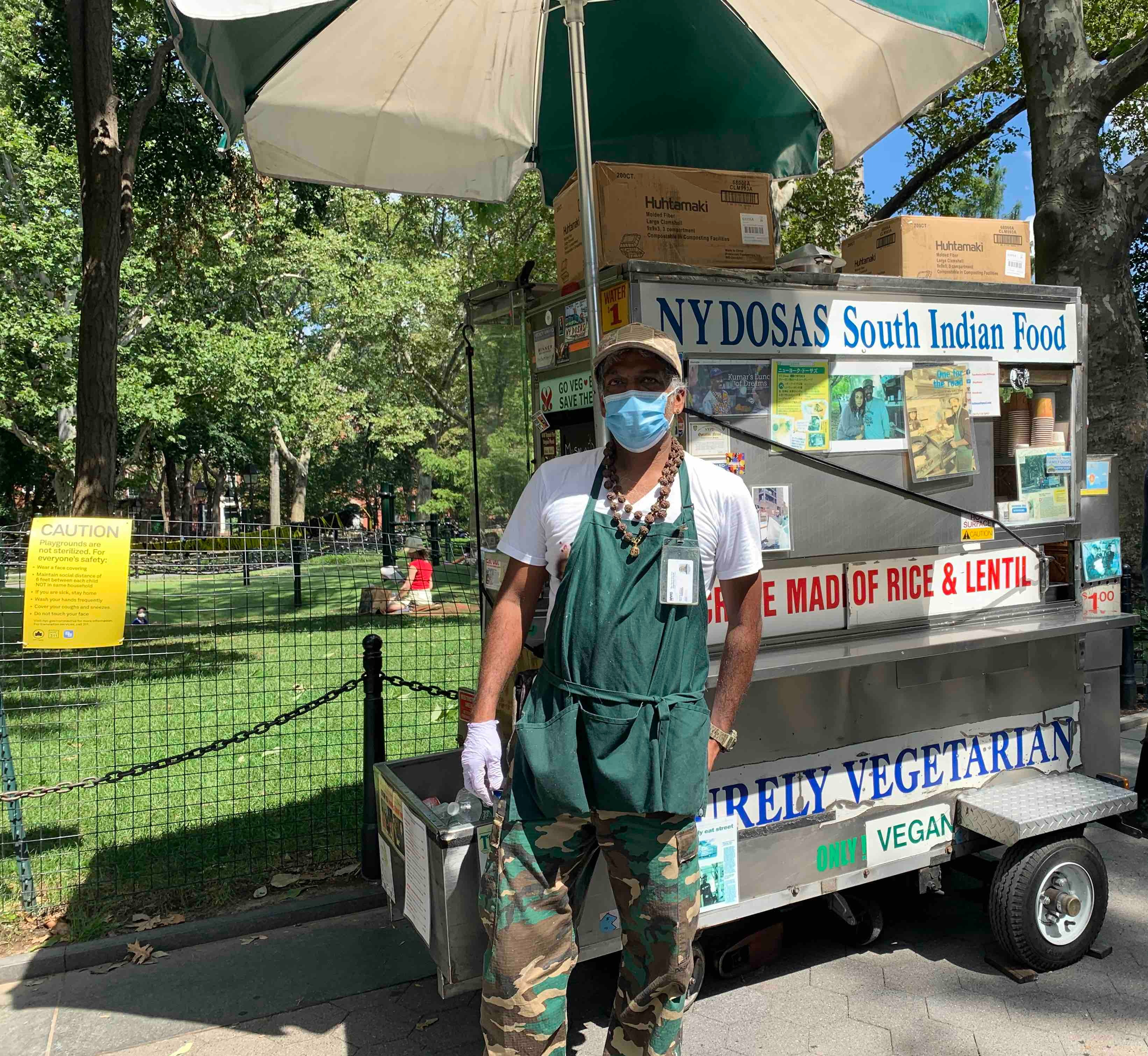 Thiru Kumar in front of NY Dosas, his iconic dosa cart (Sept, 4, 2020) (The Juggernaut)