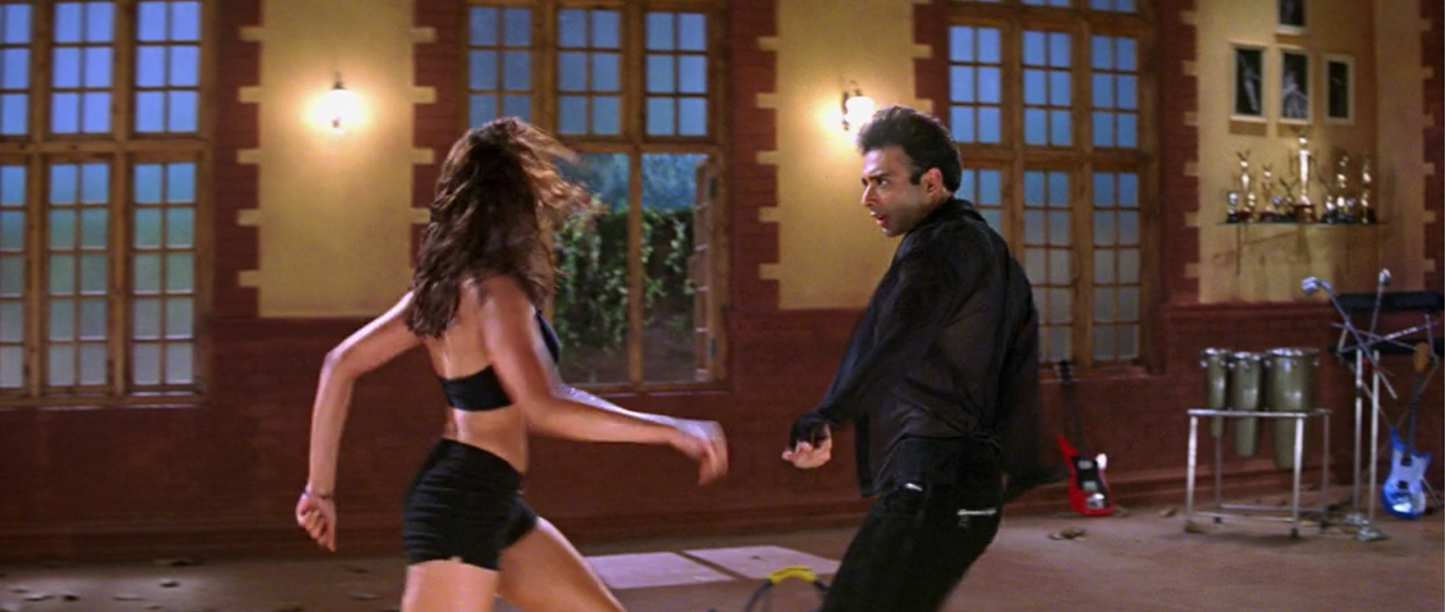 In Mohabbatein, Shamitha Shetty is harassed non-stop by Uday Chopra. (Mohabbatein)