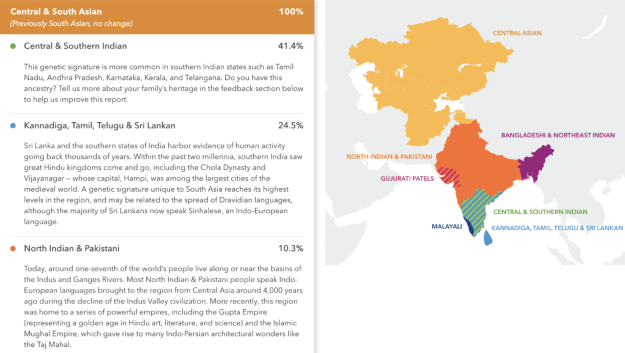 A 23andMe sample report showing more refined South Asian results after the company's latest update