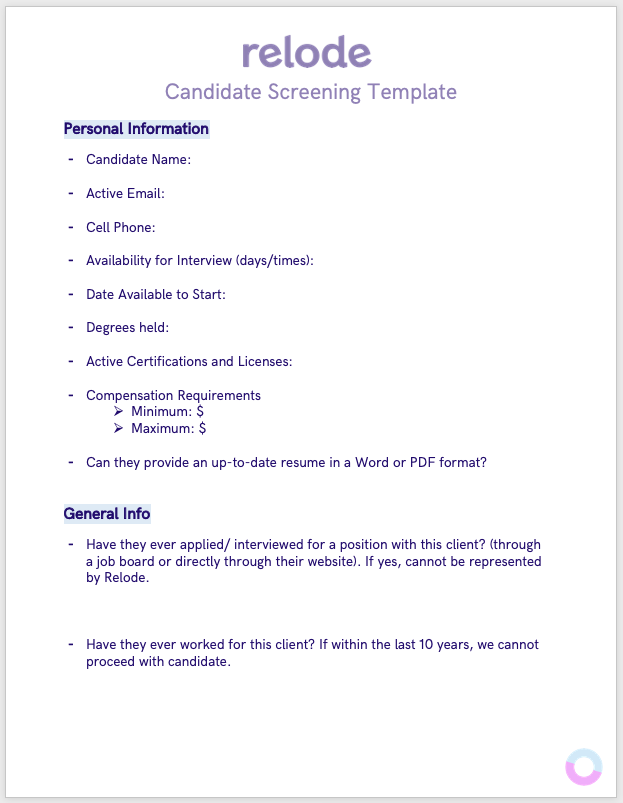 Candidate Screening Template screenshot