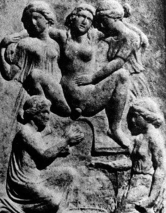 Relief of a woman in birthing chair