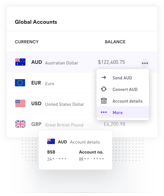 Australian Dollar Bank account converting money into Euro
