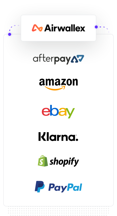 Airwallex logo amongst Amazon, eBay, Shopify and PayPal logos