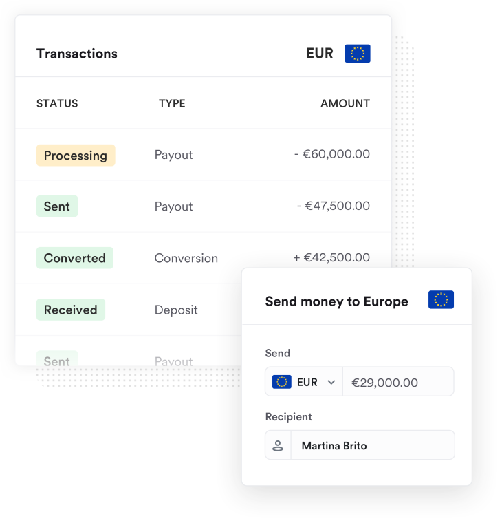 Screenshot of the Airwallex platform showing money sent to Europe