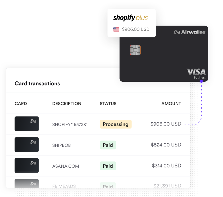 Screenshot of virtual debit card linked to SaaS subscriptions