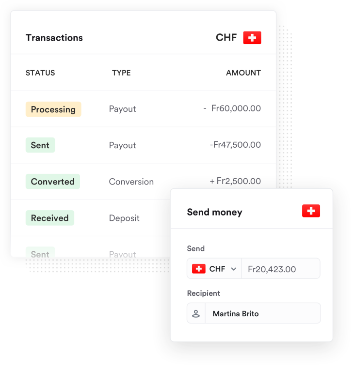 Transaction screenshot of money being sent to Switzerland in Swiss Francs