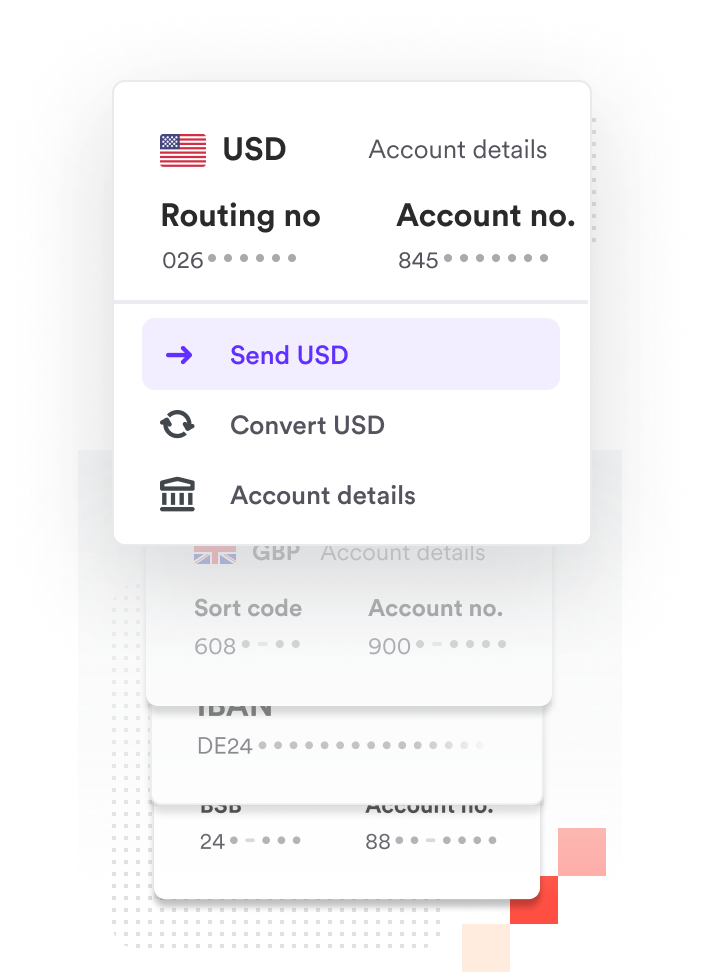 USD bank account receiving multiple payments from customers in USD