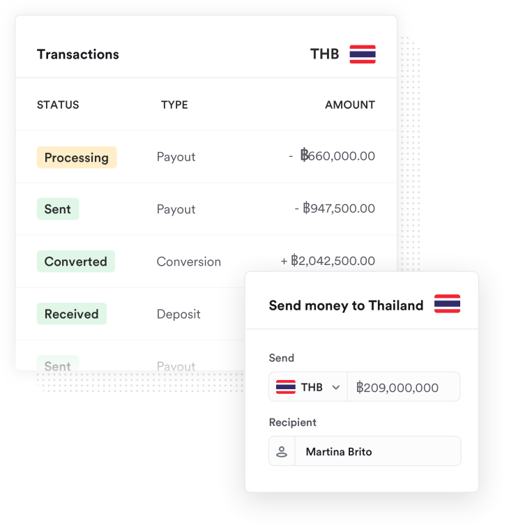 Transaction screenshot of money being sent to Thailand