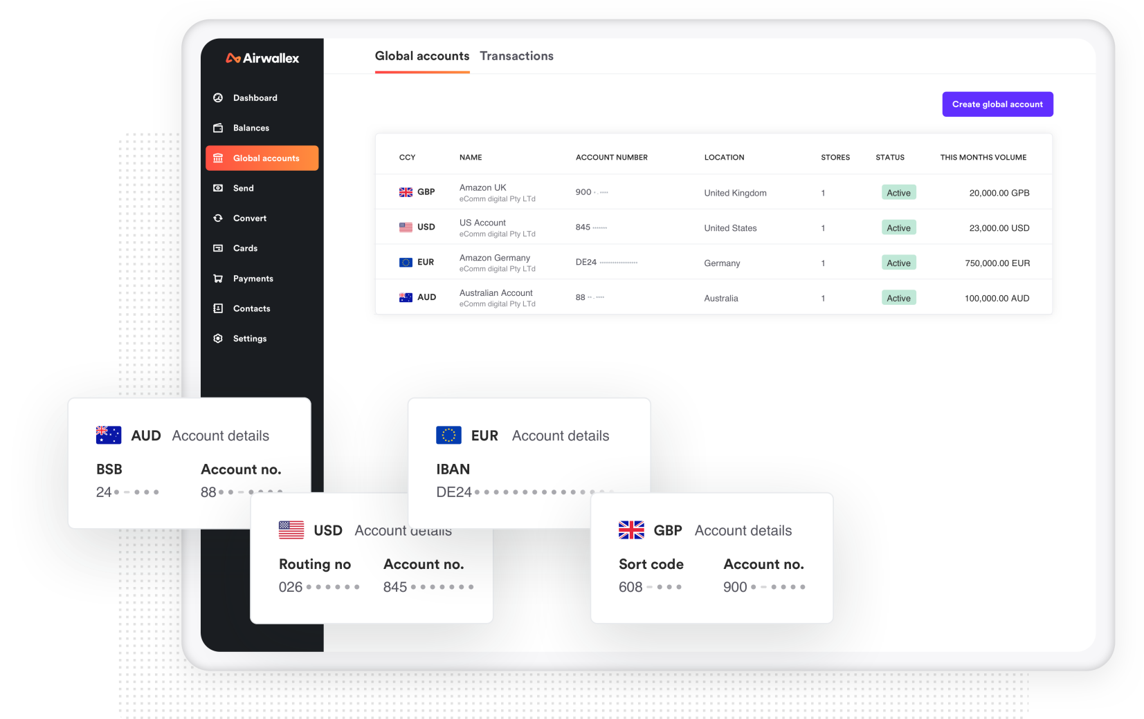 Foreign currency accounts in the Airwallex dashboard
