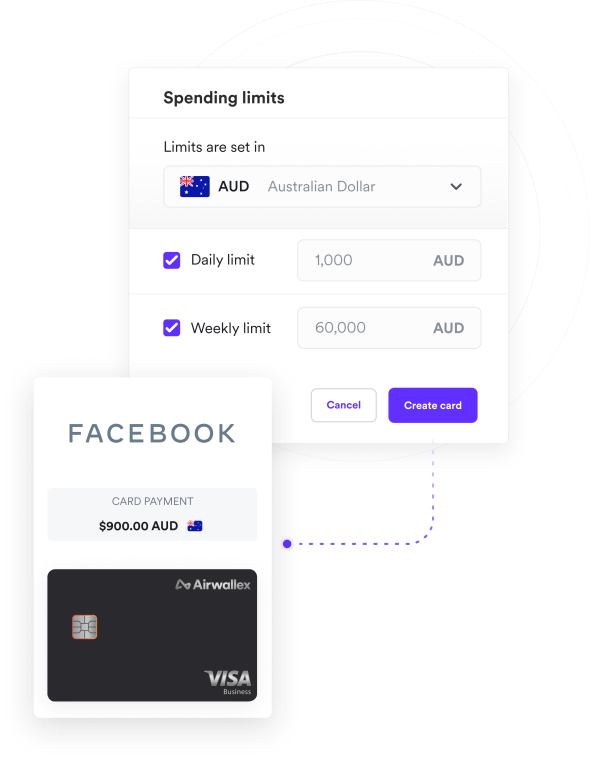 Multi-currency card transactions screenshot with virtual debit card overlay