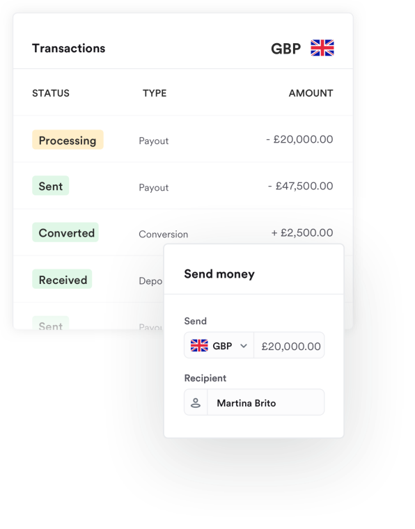 Airwallex app showing multiple UK business account transactions