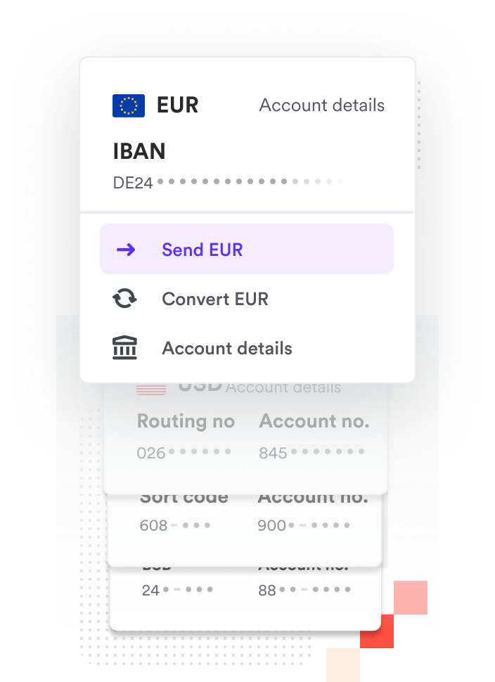 Airwallex platform receiving funds into a Euro bank account