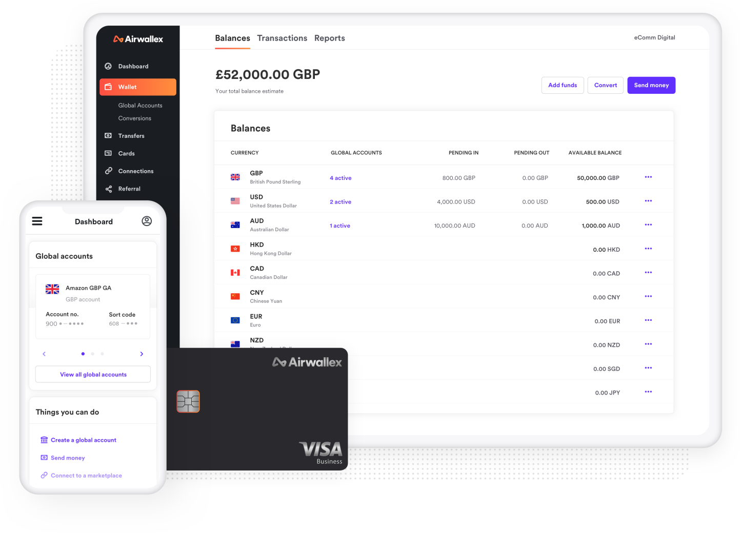Airwallex payment dashboard showing money sending internationally