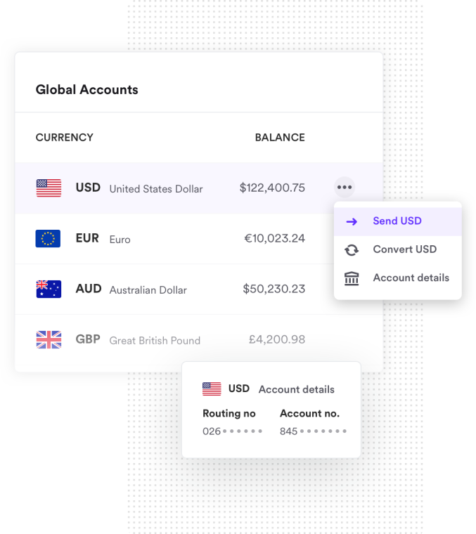 Multiple currencies holding funds in the Airwallex platform