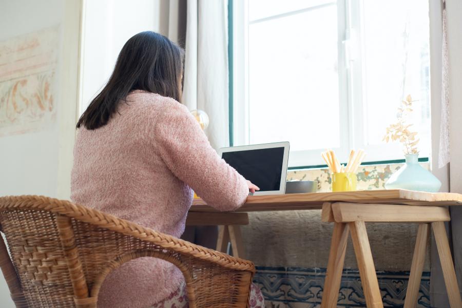 Freelancer working computer