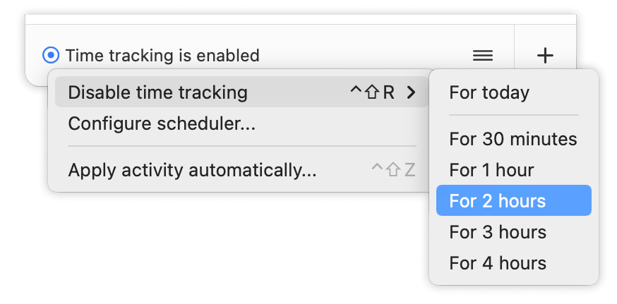 Disable time tracking for duration