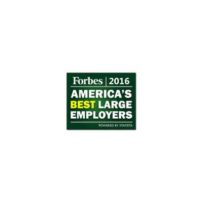Forbes' America's Best Large Employer logo from 2016